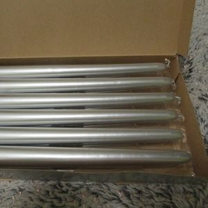 PartyLite Accents - PartyLite NEW 6 Silver metallic Taper Candles